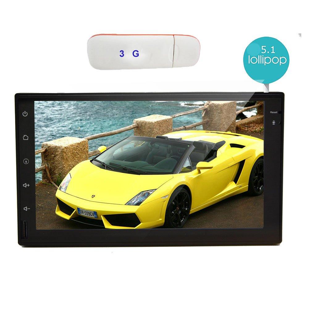 3G Dongle Android 5.1 Lollipop 7 pouces Auto Radio st¨¦r¨¦o voiture Quad Core 2DIN Unit¨¦ principale avec 800 * 480 ¨¦cran tactile de soutien de navigation GPS Bluetooth commande au