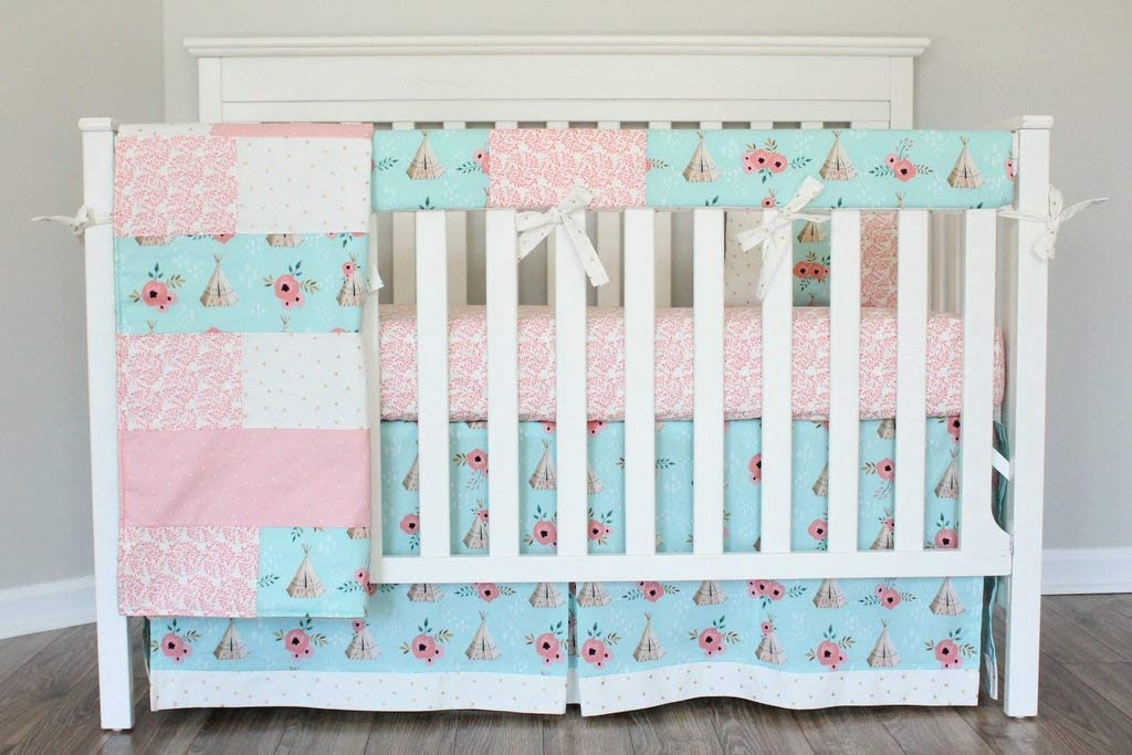 Image of 5 Piece crib baby bedding set TeePee Coral Cream Nursery Ready to ship Home and Kitchen