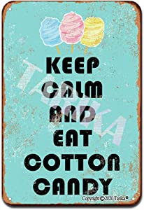 Keep Calm and Eat Cotton Candy Iron Poster Painting Tin Sign Vintage Wall Decor for Cafe Bar Pub Home Beer Decoration Crafts