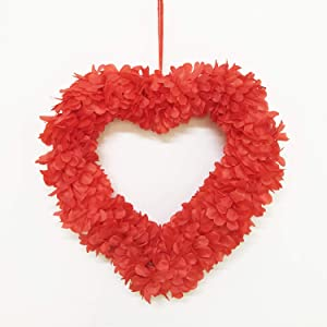 Red Heart Wreaths for Front Door - Valentine Day Wreath Decorations Outdoor Indoor - Heart Shaped Wreathfor Party - Artificial Hanging Heart Decor, 16 Inch