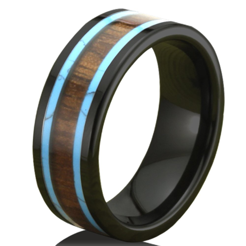 Men Women 8mm Black Ceramic Ring Vintage Wedding Engagement Band with Koa Wood Two Lines Solid Turquoise Size 11.5