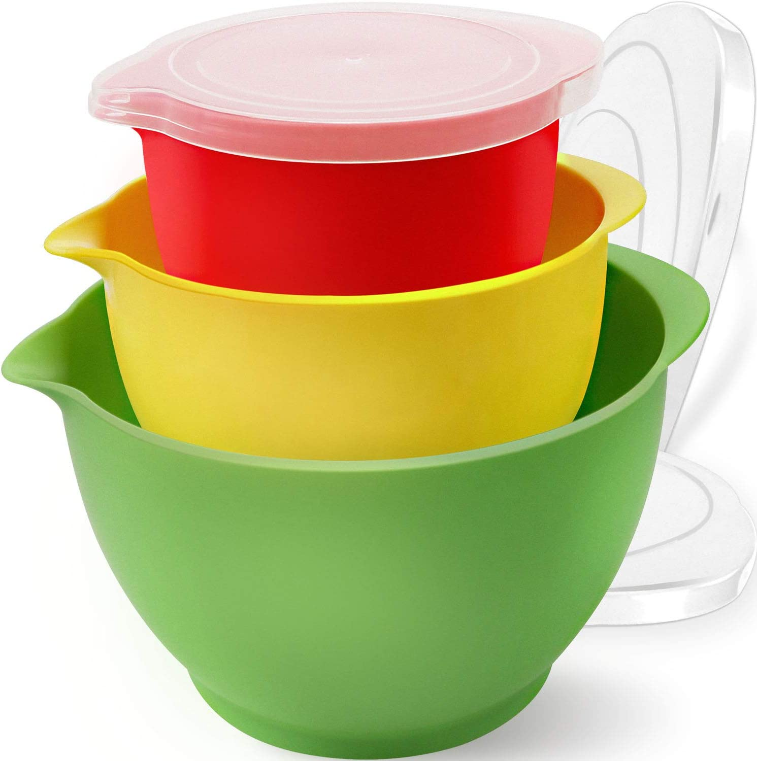 Bokzen Plastic Mixing Bowls with Lids for Kitchen, 3 Set Colorful Stackable Mixing Bowl Prep Bowls with Pour Spout for Cooking Serving Salads, Snack, Fruits, Food Storage -Dishwasher Safe, BPA free