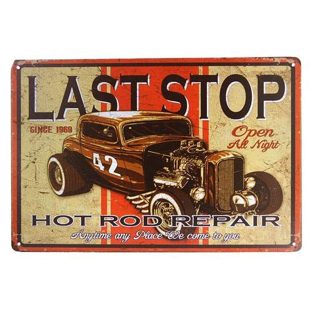 Last Stop 42 Hot Rod Repair Póster de Pared Metal Creativo Placa Decorativa Cartel de Chapa Placas Vintage Decoración Pared Arte Muestra Bar Club Café