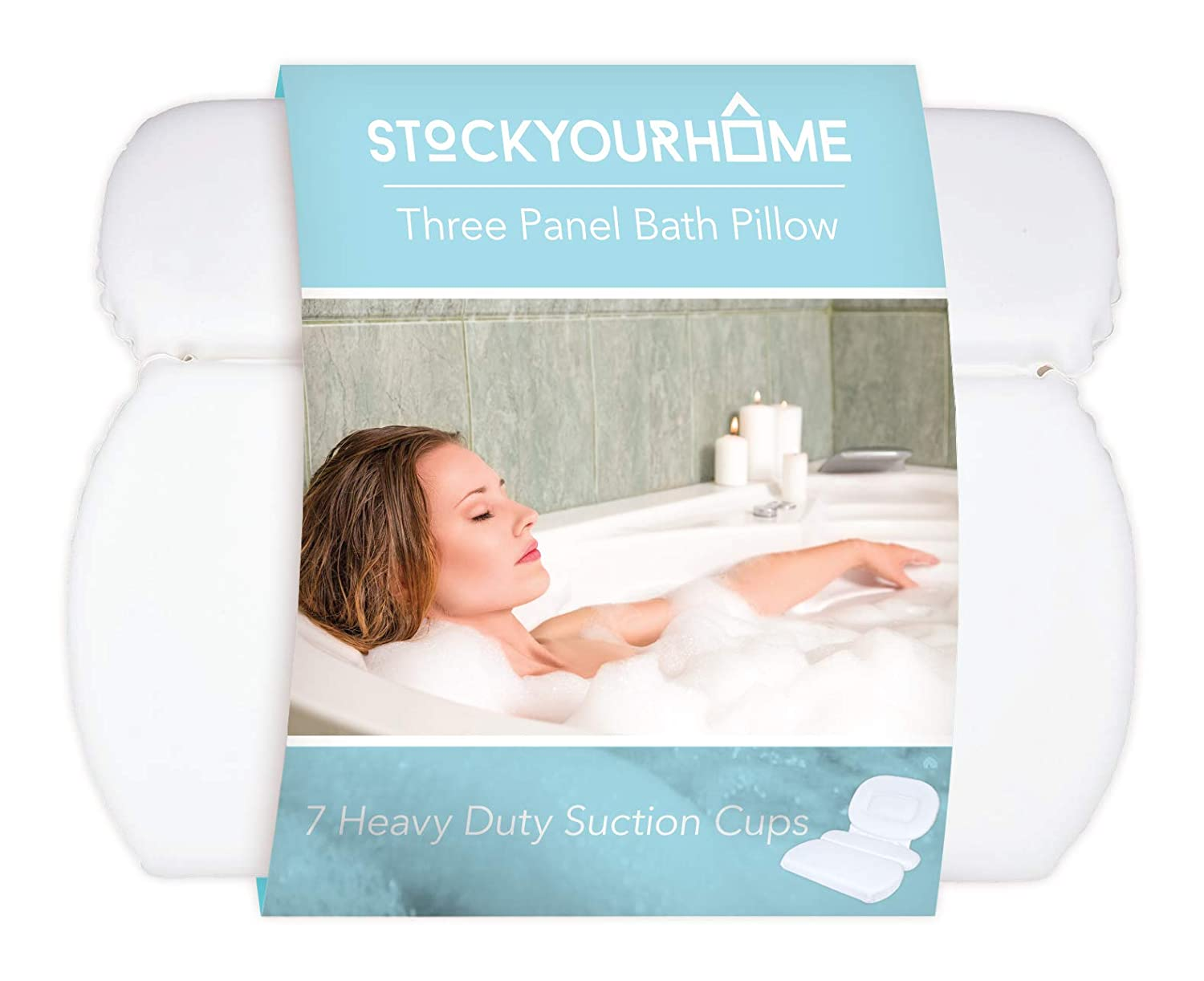 Stock Your Home Luxury Spa Bath Pillow Mat Features 3 Panel, Nonslip Jacuzzi Pillow with Removable Suction Cups and Extra Thick Foam Cushion Providing Head, Neck & Back Support for Ultimate Relaxation Richards 200702 L
