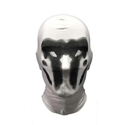 Watchmen Rorschach Mask, Digital Print Headgear Full Head Mask, Cosplay Halloween Costume Props White: Clothing