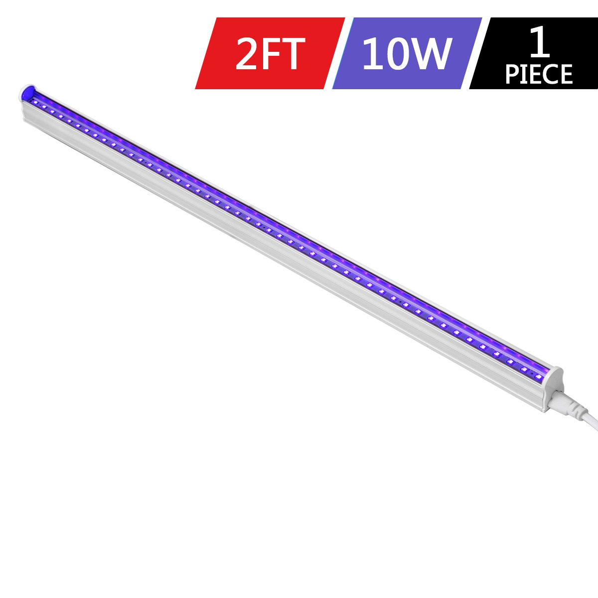 Byingo UV Black Light Fixtures 2ft 10W LED T5 Integrated Single Fixture Extendable Tube Bulb Blacklight for DJ Stage Dorm Party Club, Corded Included Built-in ON/OFF Switch Plug and Play, 1-Pack