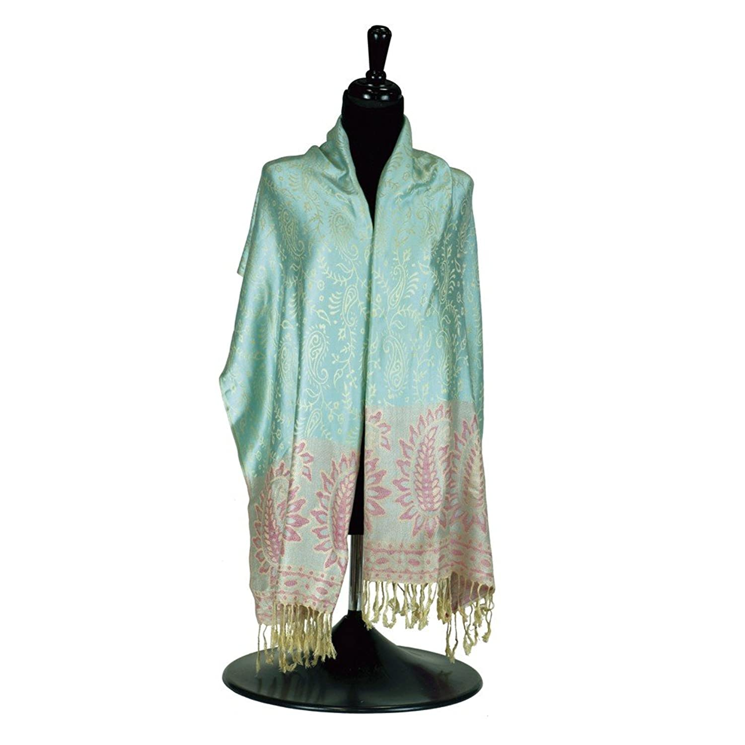 Ladies Fashion Winter Cool Blue and Pink Pashmina Scarf