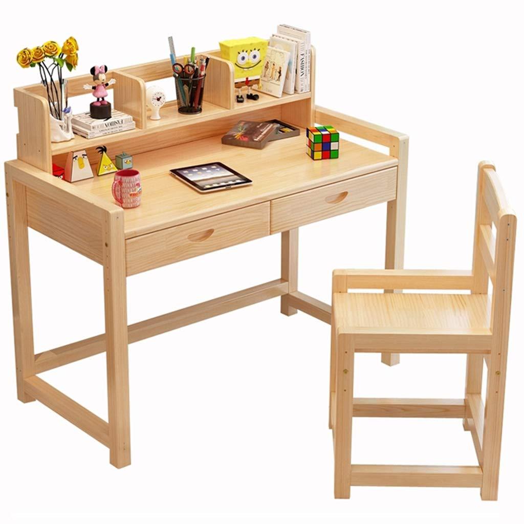 Children's Study Table Wooden Children's Study Table Adjustable Writing Desk Student Desk Bookshelf Household Table Chair Set (Color : Varnish, Size : 1205075cm)