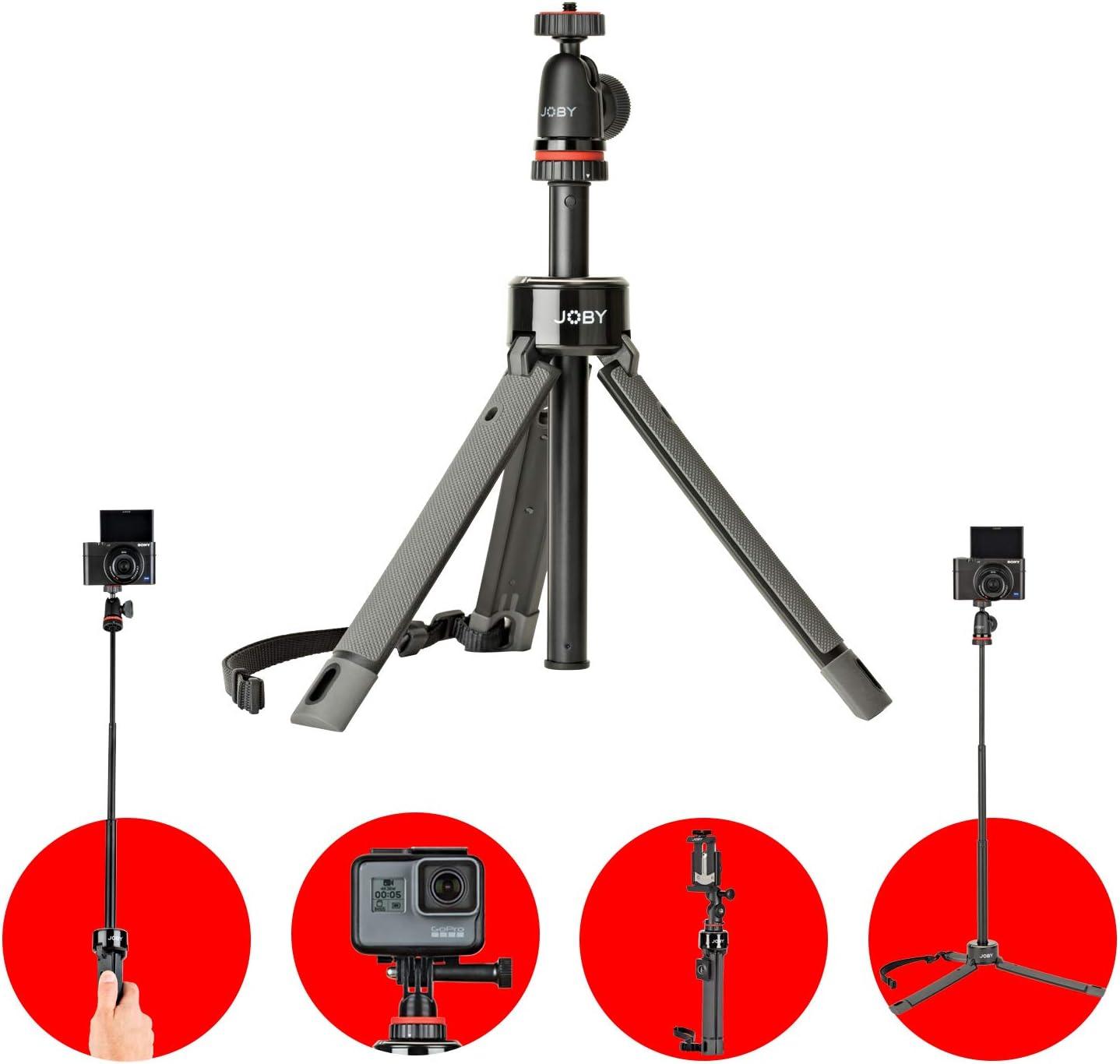 Trípode JOBY TelePod Pro, Extensible, 360º, Palo Selfie con Cabezal de Bola Para Smartphone, Cámara Réflex, Cámara de Acción, Vlogging, Youtube, Tik Tok