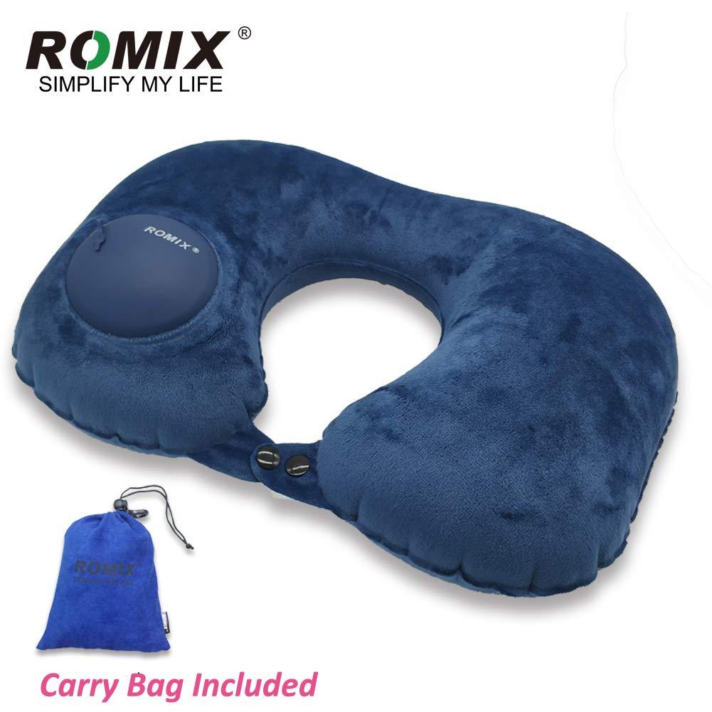 ROMIX トラベルU字型ネックピロー キャリーバッグ付き 自動で膨らませて折りたたみ可能 - スーパーソフトベルベット&洗濯可能 自動空気圧式 飛行機や電車での旅行やオフィスの休憩に最適なネックサポート  ネイビーブルー B07LG3D596
