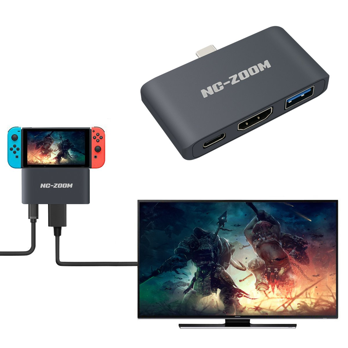 USB C Hub - Type C to HDMI Adpater for Nintendo Switch 4K Aluminium 3in1 Docking with Video Converter HDMI TV Dock Cable for Nintendo Switch - Support MacBook Pro by NC-ZOOM