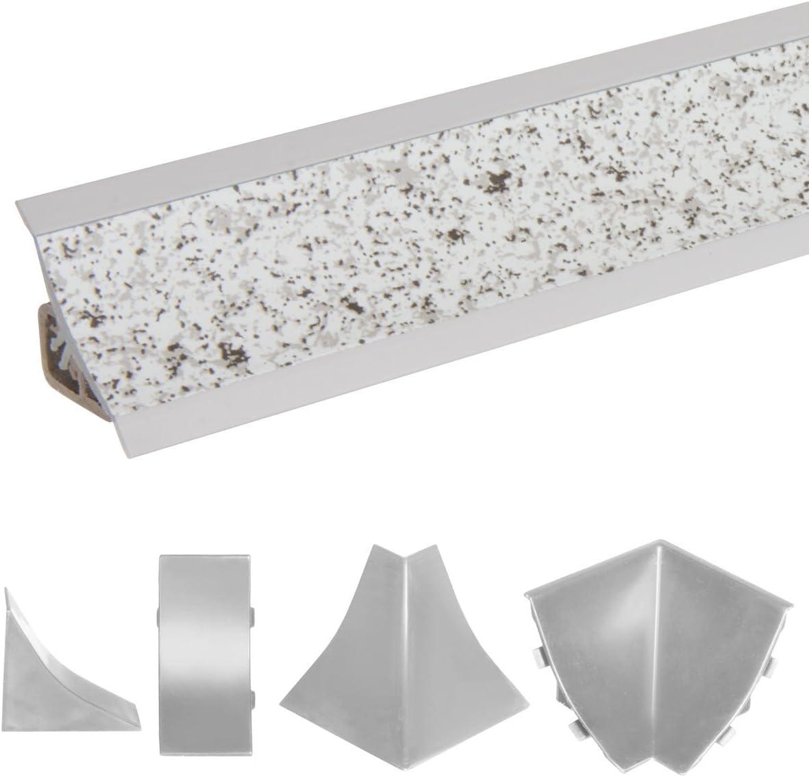 HOLZBRINK Rinconera interior de PVC a juego con el copete de encimera granito claro 23x23 mm