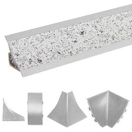 HOLZBRINK Acabado de Copete de Encimera Granito Claro Listón de Acabado PVC Copete de Encimeras de