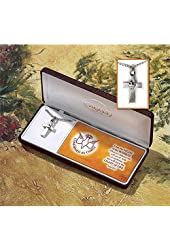 """Dicksons Pewter Cross Dove Necklace on 20"""" Stainless Steel Chain - Confirmed in Christ"""