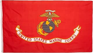 product image for Valley Forge, US Marine Corps Flag, Nylon, 3'x5', 100% Made in USA, Canvas Header, Heavy-Duty Brass Grommets