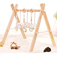 HAN-MM Wooden Baby Gym with 6 Wooden Baby Teething Toys Foldable Baby Play Gym Frame Activity Gym Hanging Bar Newborn…