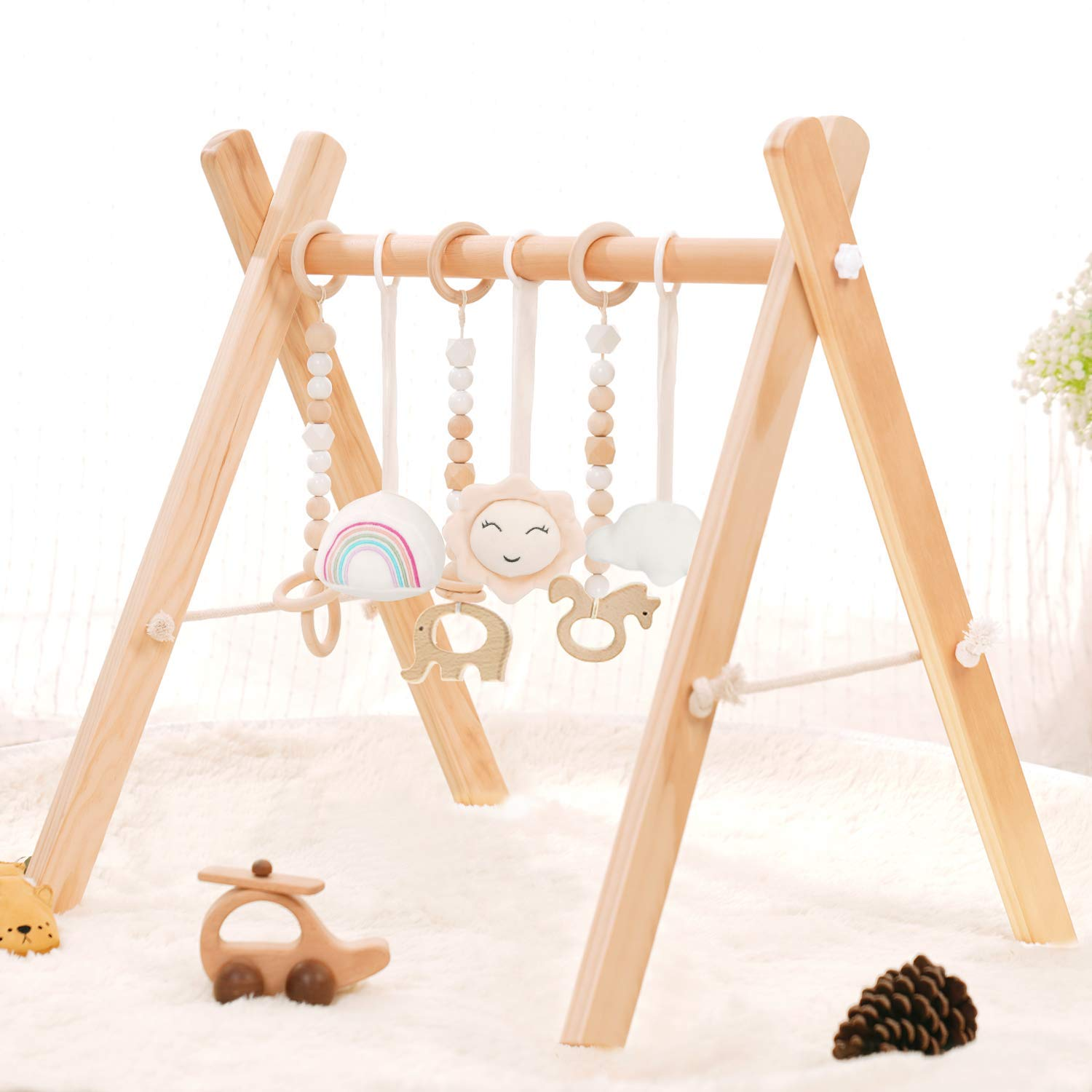 Wooden Baby Play Gym Wooden Gym Baby Gym with Hanging Toys Baby Activity Gym Wood