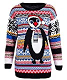 GUBA NEW WOMENS LADIES AZTEC PENGUIN FAIRISLE KNITTED CHRISTMAS XMAS JUMPER SWEATER SIZE S-XL (M/L (UK 12-14), Red Hat Aztec Penguin)