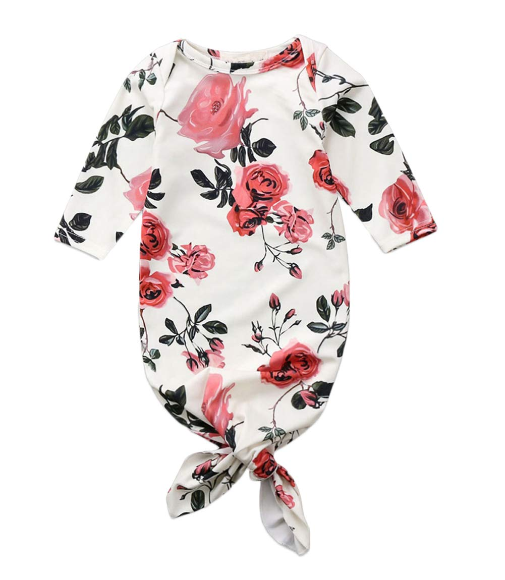 Baby Schlafsack Neugeborenen Floral gestreiften Langarm Strampler geknotet Schlafkleid Swaddle Nachtw/äsche Outfit 0-3 Monate, A-Blau