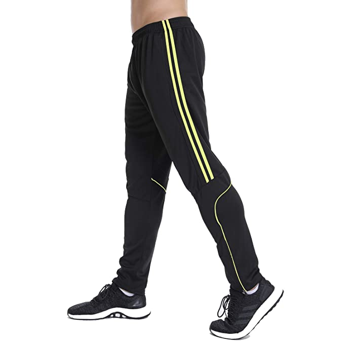 a1ed178888 RIOJOY Black Joggers Sweatpants for Men, Sport Tracksuit Bottoms with  Zipper Pocket, Casual Stripe Slim Workout Trousers
