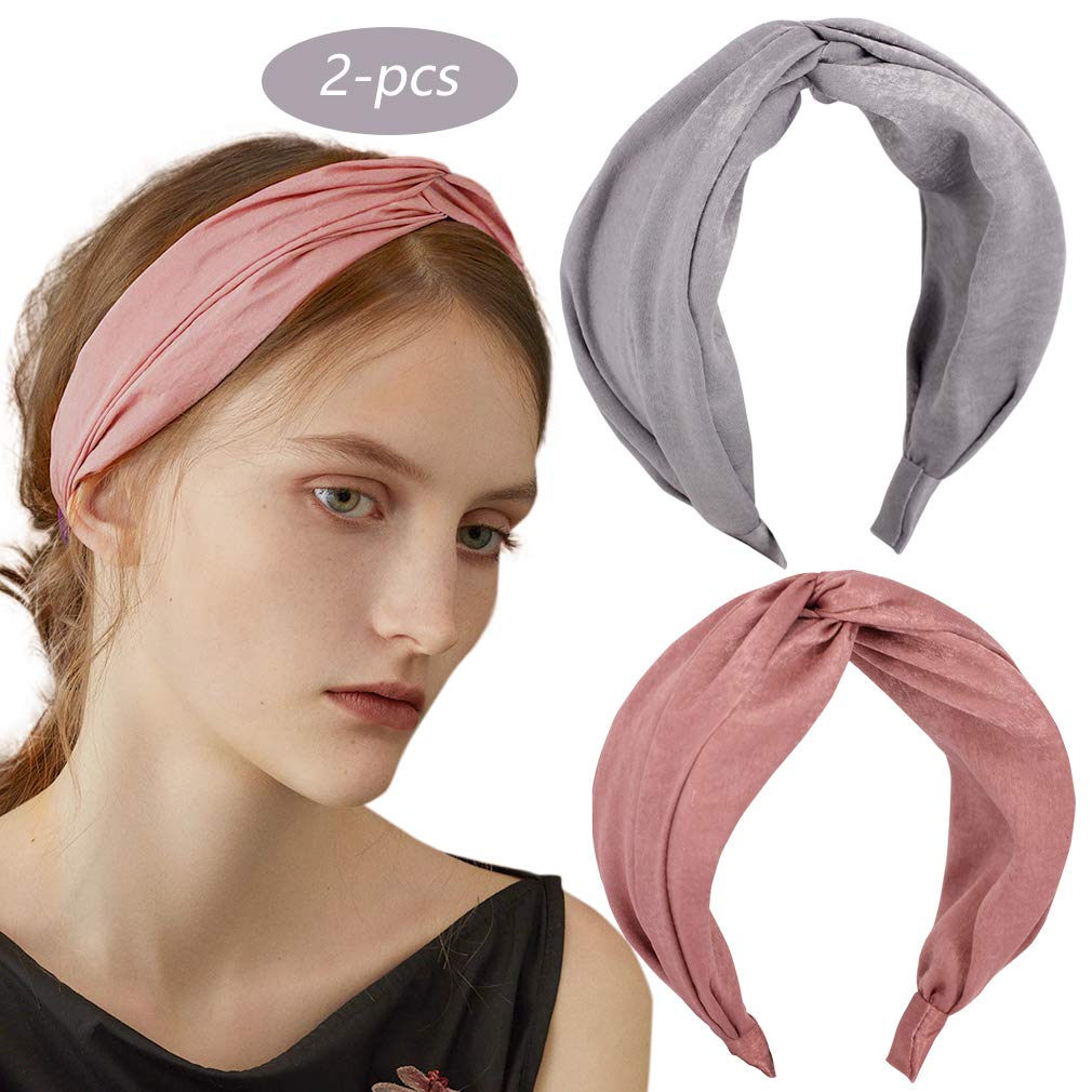 2 Pack Knot Headband Wide Print Hairband Fashion Hair Accessories for Women Girls (grey+pink)