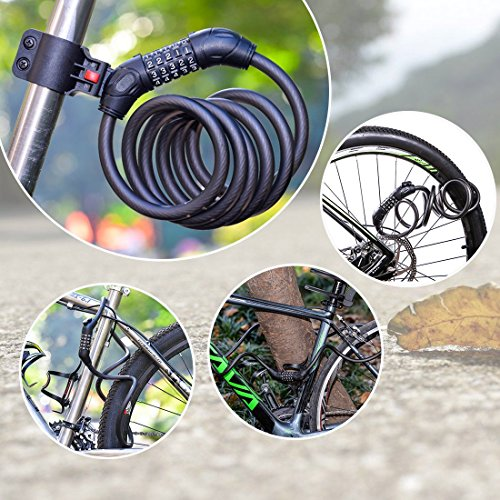 Bike Lock Cable, 6 Feet 5 Digit Anti-Theft Coiling Cable Bicyle Lock with Mount Bracket(Black) by Beneland (Image #6)