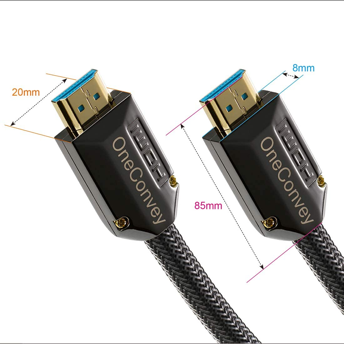 OneConvey 4K HDMI Cable 3 Feet Ultra High Speed 18Gbps Support Ethernet//ARC 28AWG OD8.6mm Video 4K UHD 2160 HD 1080P