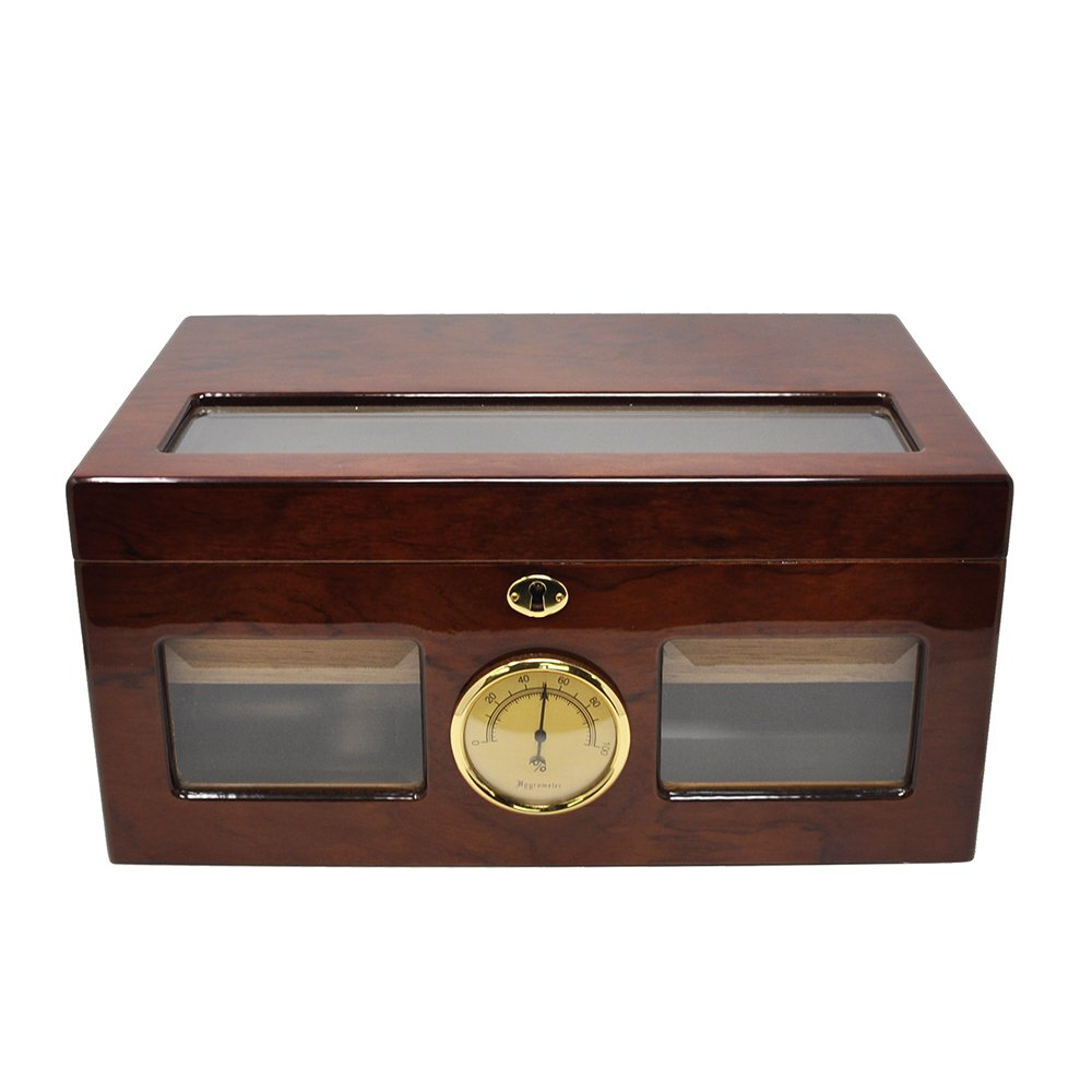 LOLIFUN Wood Cigar Humidor holds up to 100 cigars Size:376X246X178mm(14.46X9.46X6.85inch) with HYGROMETER, HUMIDIFIER AP-0044 (RED)