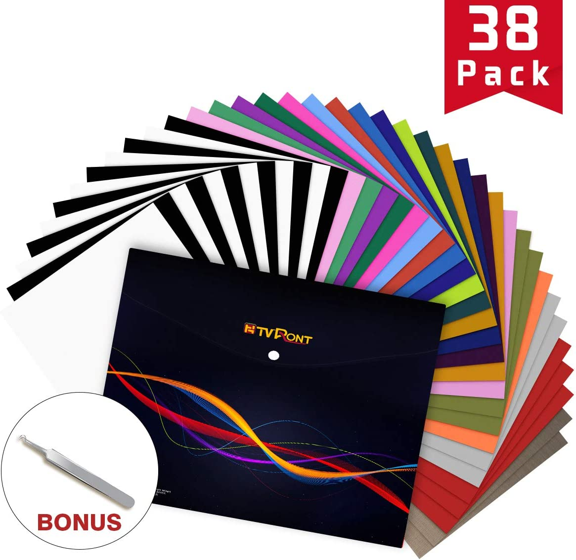 Vinyl for Shirts-Best Many Colors: HTV Vinyl 38 Pack Bundle