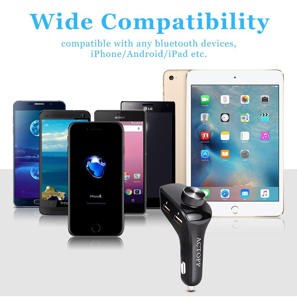 ACTOPP Bluetooth FM Transmitter mit Auto Ladegerä t 5V/2.1A Wireless mp3 Player mit 3 USB Port KFZ Radio Adapter Car Kit mit Freisprecheinrichtung fü r iOS und Android Gerä te