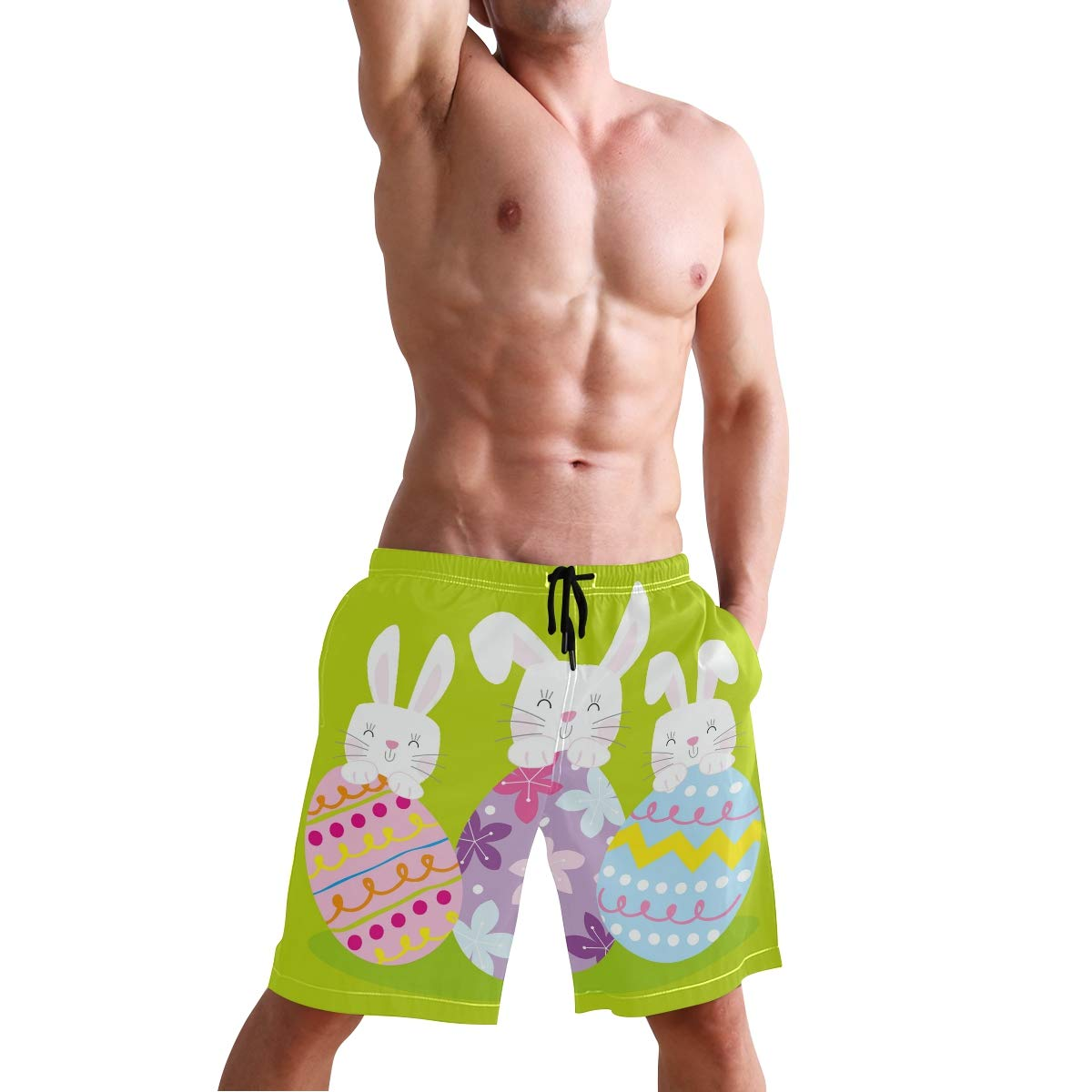 Easter Egg Bunny Rabbit Swim Trunks Quick Dry Casual Polyester Shorts