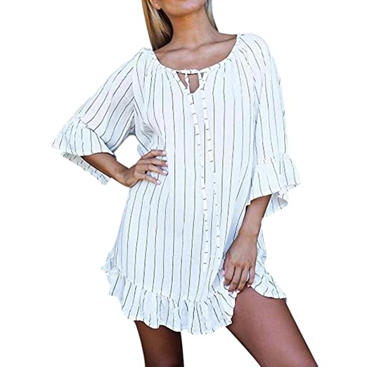 c8337ea9481 Amazon.com  UONQD Woman Womens Dress Striped Half Sleeve Casual Summer  Beach Dresses  Clothing
