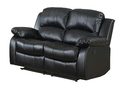 Amazon.com: Ciabola - Asiento doble reclinable de piel negra ...