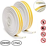 Door Weather Stripping, Keliiyo Window Seal Strip for Doors and Windows- Self-adhisive Foam Weather Strip Door Seal | Soundproof Seal Strip Insulation Gap Blocker Epdm D Type 66ft(20m) 2 Pack (White)
