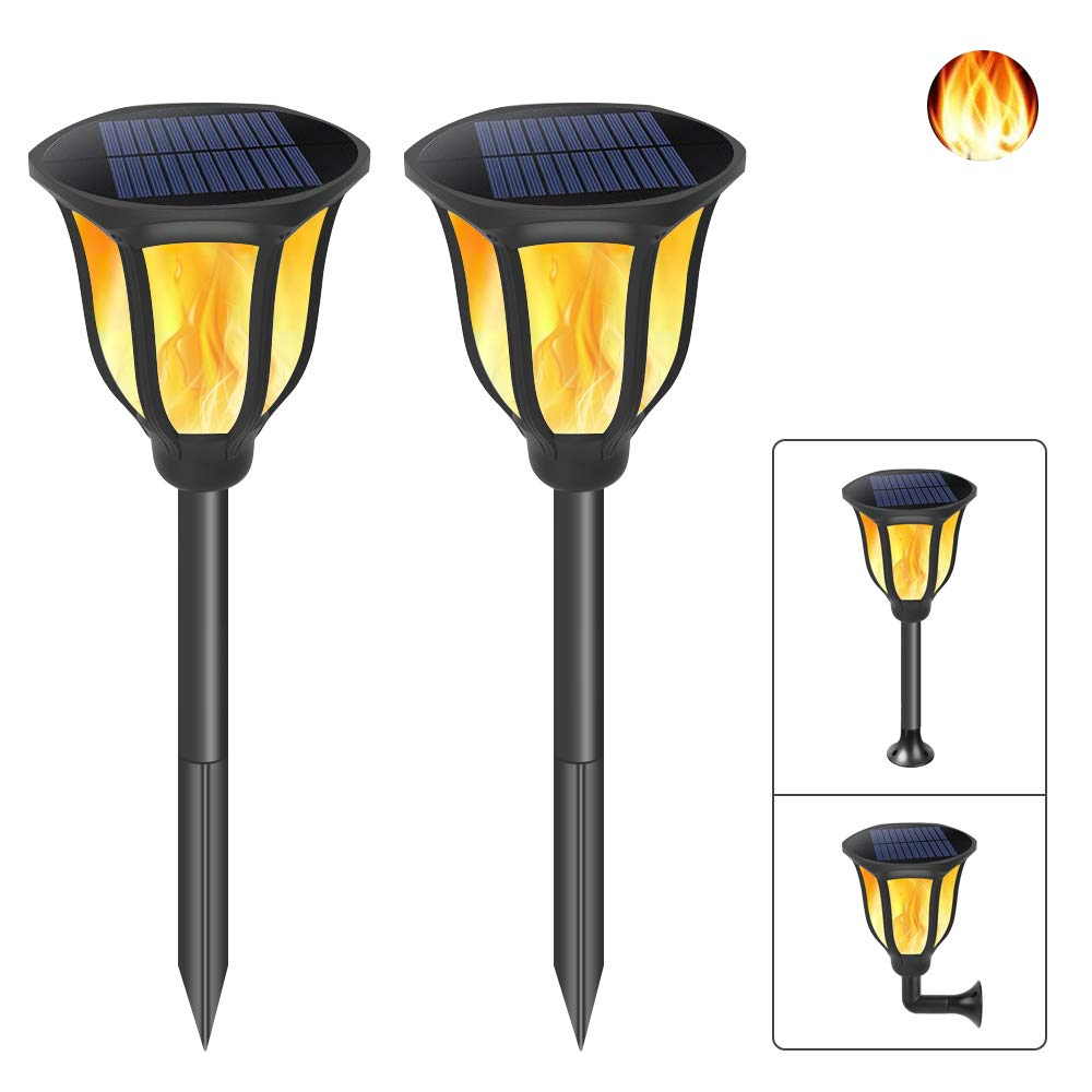 Solar Lights Upgraded, Flickering Flames Solar Torches Outdoor Spotlights Waterproof Dancing Flame Landscape Decoration Lights Dusk to Dawn Auto On/Off Security Torch for Yard Pool (2 Pack)