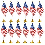 Best Holder Stands For Desk Cars - 12-Piece US Flags - American Flags with Stand Review