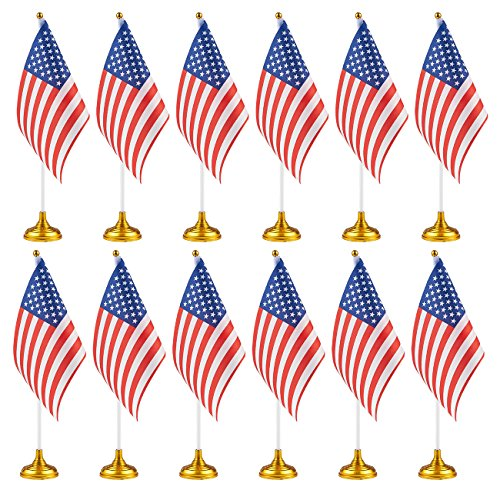 Juvale 12-Piece US Flags - American Flags Stand, USA Flags Desk, Table Decorations, 8 x 5.5 inches -