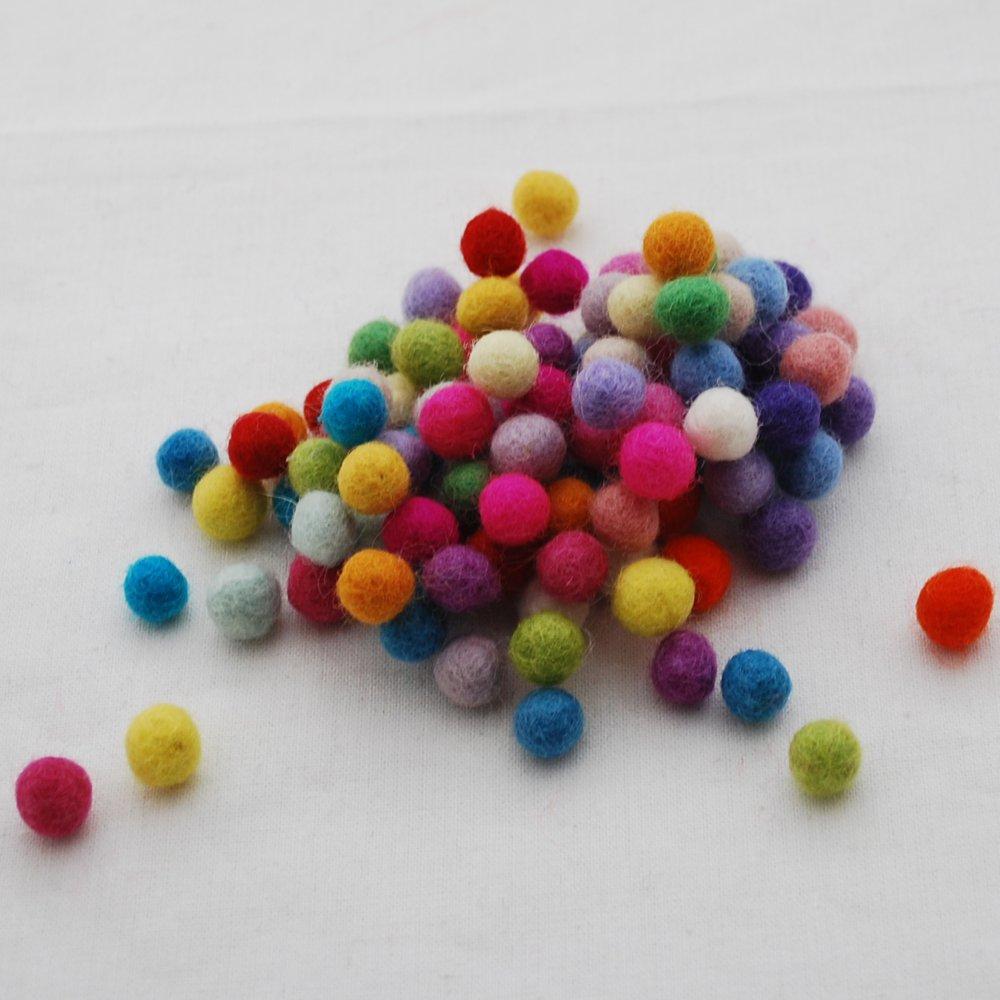 100% Wool Felt Balls 1cm - 100 Count - Assorted Colours Oriental Direct Ltd