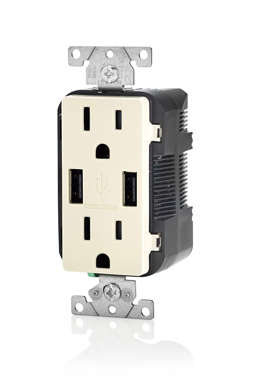 Leviton T5632 E 15 Amp Usb Charger Tamper Resistant Duplex 120 Volt Plug Wiring Diagram With Multiple Plugs Receptacle Black