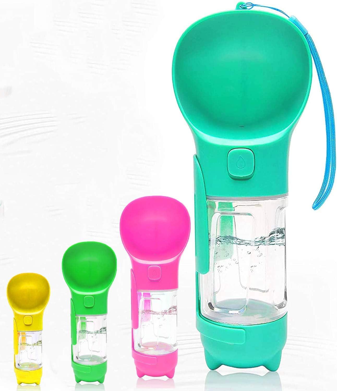 Pet Water Dispenser & Pooper Scooper – 2-in-1 Cat/Dog Water Bottle with Strap, Dog Bowl, Detachable Shovel, Bag Dispenser + 50 Bags – BPA-Free Water Bottle for Walks, Travel by K.te, 9 Oz,