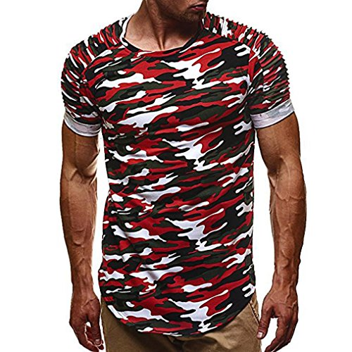 Tee Outline Camo - Clearance ! Men T-Shirt, ღ Ninasill ღ Exclusive Personality Camouflage Men's Casual Slim Short-sleeved Blouse (M, Red)