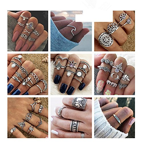 ANGELANGELA Vintage Assorted 12 Set Stacking Rings, Antique Silver Joint Above Knuckle Nail Midi Band Statement Stackable Cuff Toe Finger Ring Set (Mixed 49Pcs) -