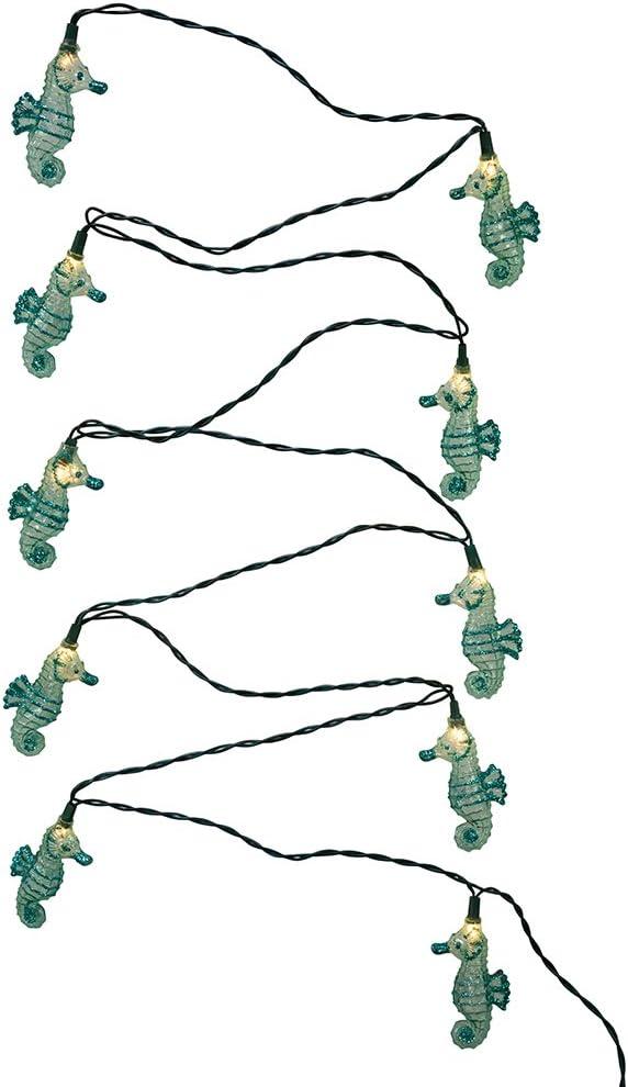 Kurt Adler UL 10-Light Glittered Seahorse Light Set