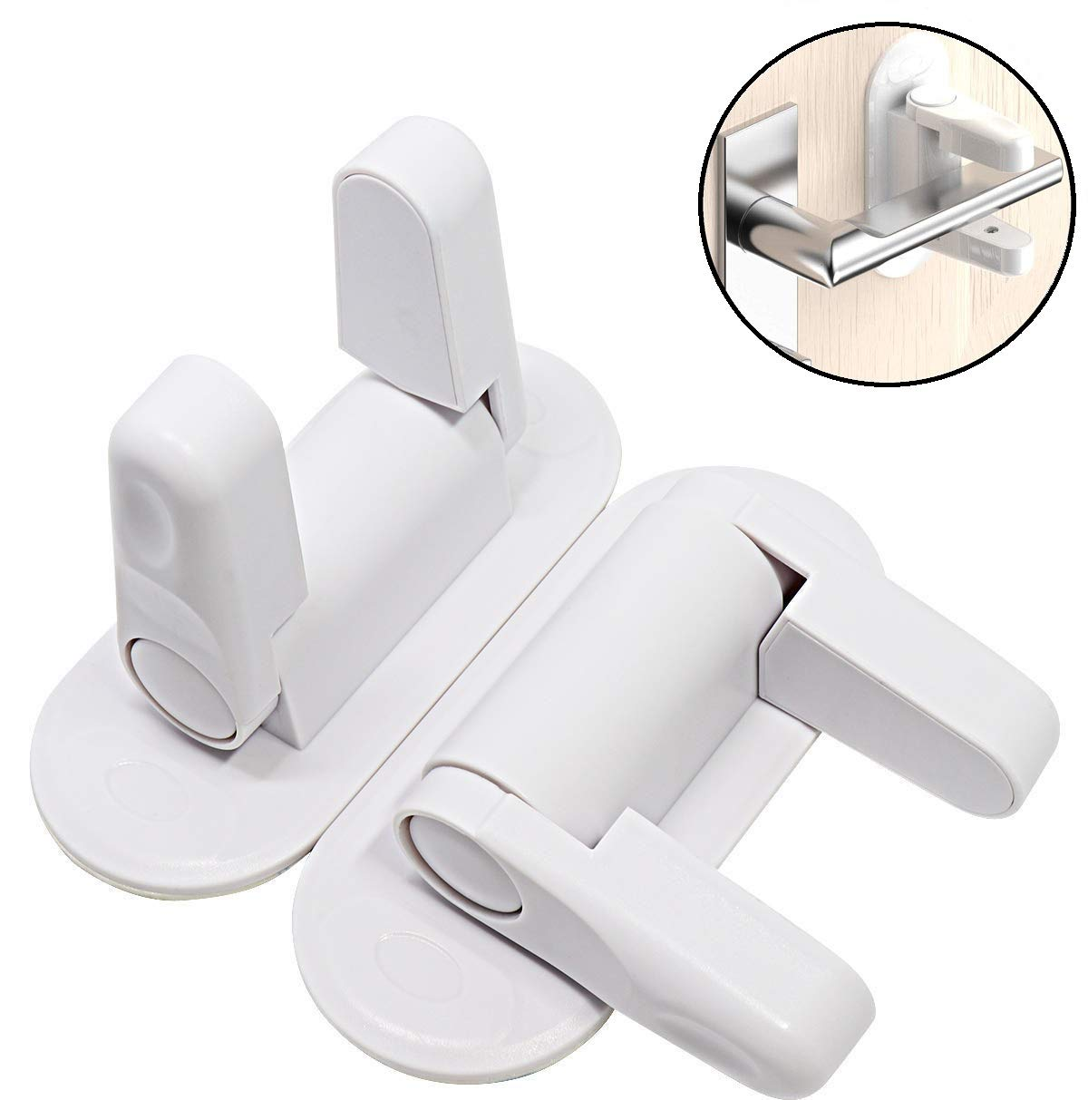Door Lever Lock for Kids,2 Pack Baby Proof Safety Door Handle Lock 0-5 Years Old (White)