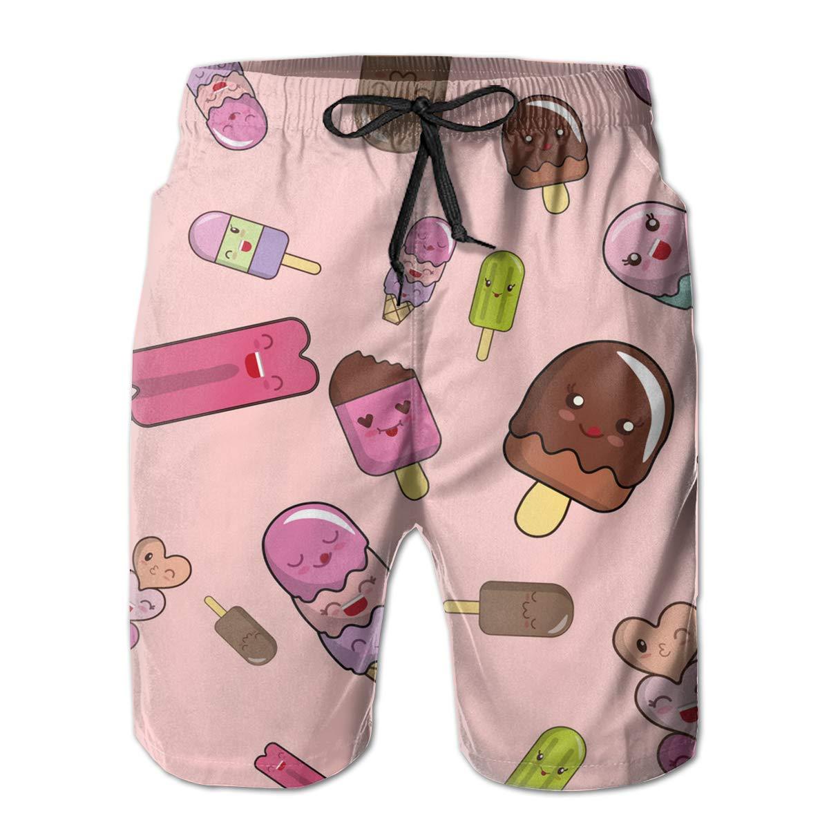 SARA NELL Mens Swim Trunks Cute Ice Cream Pink Surfing Beach Board Shorts Swimwear