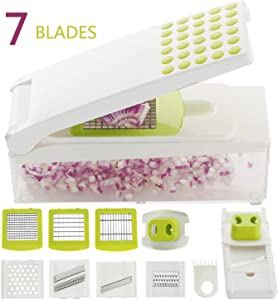 Smile mom Manual Vegetable Slicer Dicer Onion Chopper 7 in 1 Hand-Powered Grater Cutter Set for Fruit Cucumber Carrot Potato with 7 Stainless Steel Blades Hand Protector and Cleaning Tool