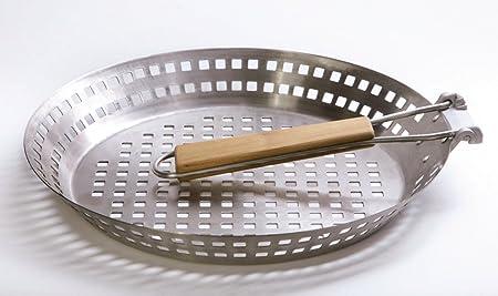 kamelshopping Grillpfanne//Grillkorb mit klappbarem Griff aus Edelstahl /Ø ca 20 cm Grillschale mit Lochboden f/ür EIN perfektes Grillaroma