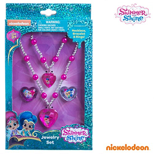Easy Tv Show Character Costumes - Shimmer and Shine Girls Jewelry Set Necklace Bracelet Rings