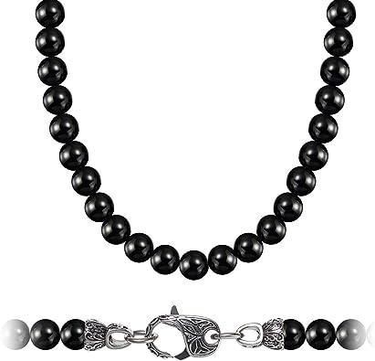 negro Acero inoxidable Collier Collier collar con cierre magnético