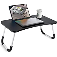 Foldable Bed Tray Lap Desk, Portable Lap Desk with Phone Slots Notebook Table Small Desk Folding(Black)